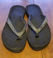 B25 Reef Cushion women's size 9 flip flop sandals Sparkle silver and black