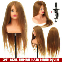 24'' 100% Real Human Hair Training Head Salon Styling Mannequin Doll +