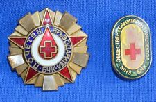 Bulgarian RED CROSS Honorary Blood Donor Enamel BADGES 2pcs.