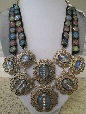 NWT Auth Betsey Johnson Prom Party Rhinestone Medallion Bib Statement Necklace