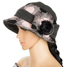 Pink Women Winter Wool Dress Church Cloche Bucket Hat Cap With Bow Floral Band