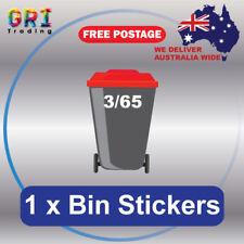 Wheelie Rubbish Garbage Bin Sticker House Number, Vinyl Decal