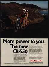 1974 HONDA CB-550 Motorcycle - More Power To You - Man & Woman Ride - VINTAGE AD