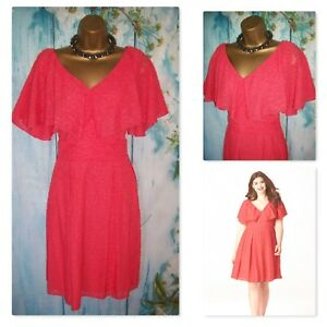 SIMPLY BE LOVEDROBE DRESS SIZE 16, Gorgeous Coral Fit & Flare Occasion Dress
