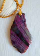 Lovely agate geode slice purple pink natural gemstone gold plated necklace 23""