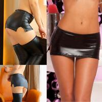 Sexy Women Black PU Leather Micro Mini Skirt Shiny Night Club Dance Short Skirt