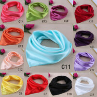Lady Women Solid Color Satin Silky Square Scarf Neck Headband Kerchief Bandana