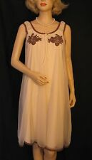 Vtg 60s Val Mode Double Layer Babydoll Nightgown Mocha & Brown Lace Applique S-M