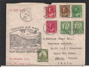 1937 CANADA FFC FORT NELSON;JOHN TO ROYAL AIR FORCE AMBALA PUNJAB INDIA USED