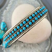 Val Yazzie  Navajo Sterling Silver Petite Point Turquoise Bracelet For Women