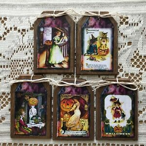 5 WOODEN Handcrafted Halloween Hang Tags,Ornaments,Bowl Fillers,ORNIES SET#1k
