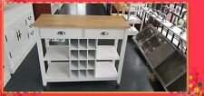 Kitchen Trolley Kitchen Cart White Wooden Cabinet Solid Wood Top SKT811
