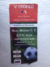 ENTRADA TICKET V TROFEO ANTENA 3 REAL MADRID AJAX AMSTERDAM FRIENDLY 1997 RARE!!