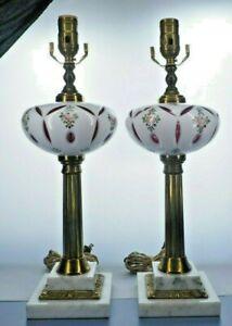 Bohemian czech glass lamp, brass, marble, hand painted flowers.