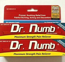 2x Dr Numb 5% Lidocaine Cream 30G Skin Numbing Tattoo, Waxing Expires 6/2022