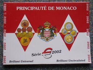 Monaco 2002 3,88 KMS ST OVP 1 Cent - 2 Euro Kursmünze Grimaldi Rainier Set BU