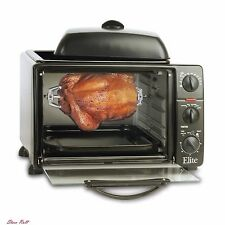 Rotisserie for Grill Toaster Oven Electric Elite Cuisine 6-Slice Griddle Top New