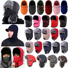 Men Women Trapper Aviator Hat Winter Warmer Ushanka Trooper Plain Ski Cap Hood