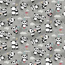 Fabric Baby Panda Bears in Rain Gray Designer Kawaaii Flannel by the 1/4 yard