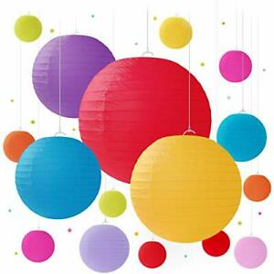 16 Colorful Paper Lanterns for Birthday Decorations, Weddings, Multicolor
