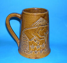 Studio Pottery - Attractive Asian Inspired Designs on a Large Tankard.