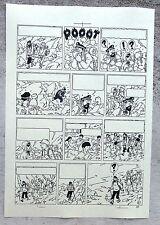 Hergé Tintin au Tibet Copie de Bleu d'imprimerie Planche 61 Format A4 Superbe !