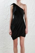 Zimmermann Bow Bodice Dress | Black Mini Cocktail Draped | One Shoulder $600 RRP