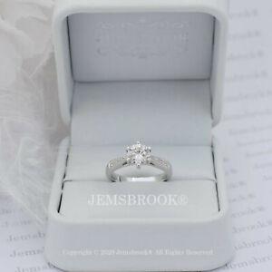 1ct Pave Set Diamant Solitär Verlobungsring Sterling Silber Platin Finish