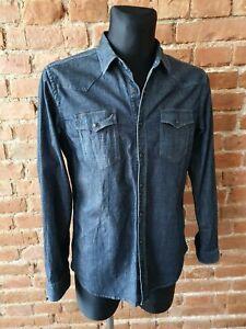 Replay Men's Denim Shirts Dark Blue Size L