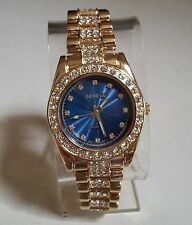 Men's Designer gold finish blue dial hip hop bling fashion watch