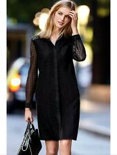 Bnwt🌹Next🌹Size 10 Black Lace Collared Shirt Dress Evening Going Out Day New