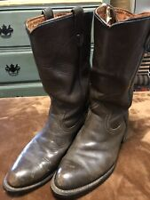 MENS VINTAGE SEARS BROWN LEATHER PULL ON COWBOY WESTERN WORK SOLE BOOTS SZ 8 D