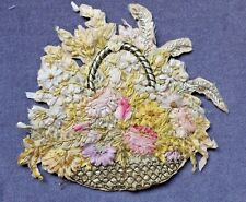 Cutout : Ribbonwork Embroidery Flower Basket on Silk, To Use As Applique