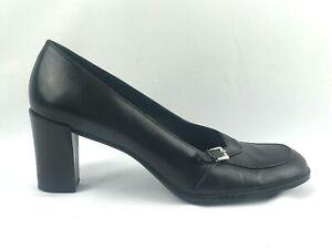 FRANCO SARTO Wide Block Heel Black Leather Pump Silver Buckle Oxford 8 M