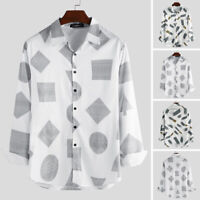 Mens Fashion Long Sleeve Casual Printed Shirts Casual Slim Fit Collor Top Blouse