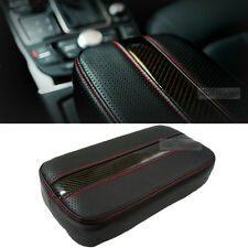 Sports Glossy Carbon Line Armrest Console Cushion Red Stitch for HYUNDAI Car