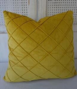 45cm** Mustard Yellow Softest Velvet Large Diamond Pleated Pillow Cushion Cover