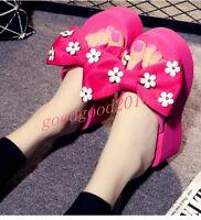 Hot Sale Ladies Bowtie Clip Toe Sandals Slipper Platforms Wedge High Heel Floral