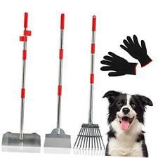 Dog Pooper Scooper 3 Pack - Pet Poop Tray Rake Spade Set with Metal Long