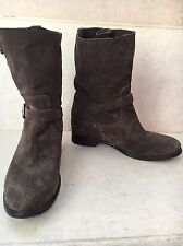 Prada Brown Cervo Moto Suede Boots 38 with buckles