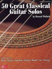 50 Great Classical Guitar Solos Learn to Play Bach Tarrega TAB Music Book Bach +