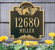 Whitehall Horse Head Monogram Address Sign Personalized Plaque in 17 Colors
