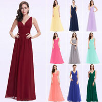 UK Ever-Pretty V-Neck Bridesmaids Dresses Long Chiffon Evening Gown Maxi 09016