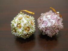 """2 Handmade Christmas Ornaments Beaded Decorated 2"""" - Prism shaped not round"""