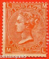 "SG. 95. J58. "" ML "". 4d Deep Vermilion. Plate 11. A fine mounted mint example."