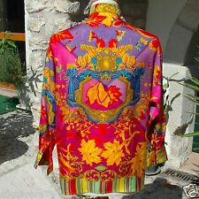 GIANNI VERSACE COUTURE silk shirt Autumn Leaves print Italian size 40 from 1993