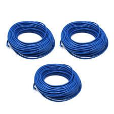 3PK 100FT Blue Quality Cat6 550MHz UTP RJ45 Ethernet Bare Copper Network Cable