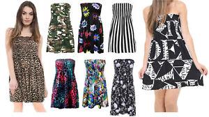 Printed Summer Ruched Bandeau Boobtube Elasticated Leopard Top Mini Dress