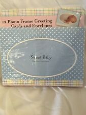 """12 Baby Photo Frame Greeting Cards Announcements Envelopes 7"""" X 5"""" Blue"""