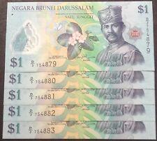 Brunei $1 polymer D3 754879 - 783 cons nos 5 pcs 2011 unc
